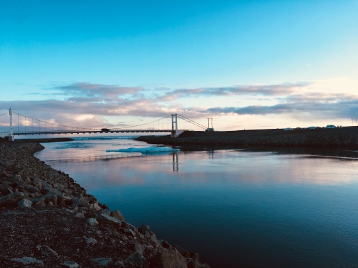 Jökulsárlón bridge al tramonto